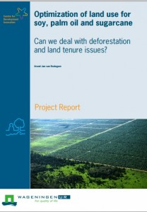 Optimization of land use for soy, palm oil and sugarcane